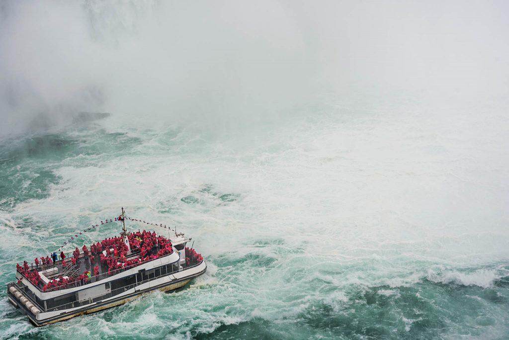 A tourist cruise on Niagara Falls