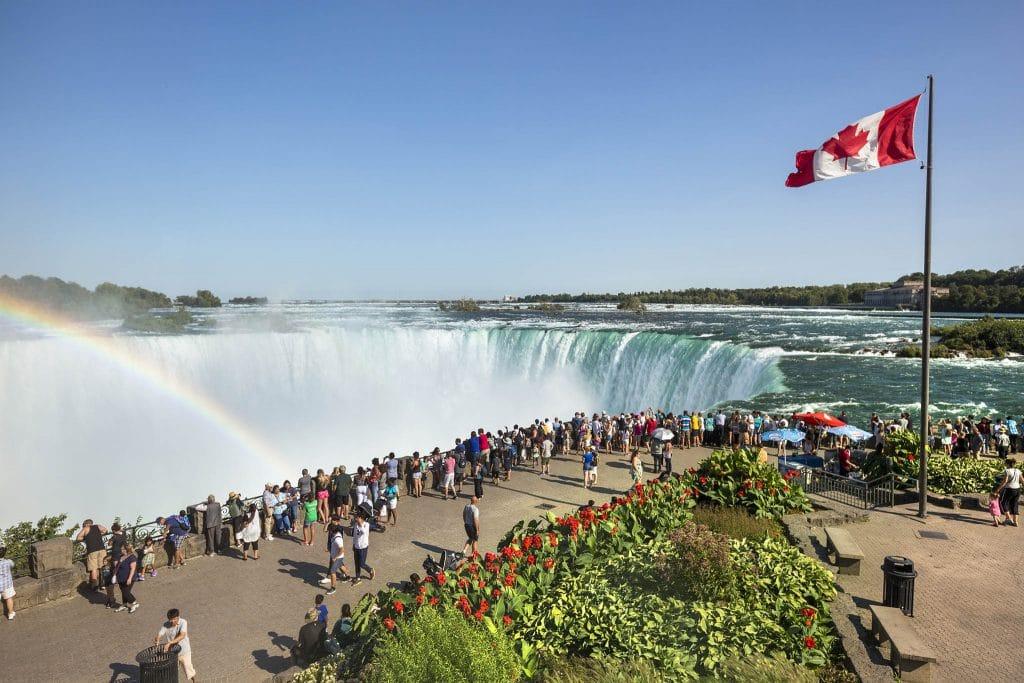 Tourists in Niagara Falls Ontario Canada