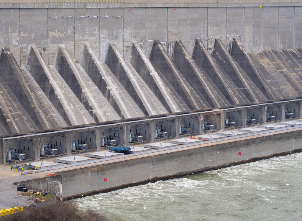 View of Robert Moses Power Plant Niagara Falls, New York.