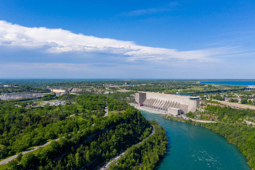 Aerial Niagara River and Niagara River Recreation Trail, Ontario, Canada